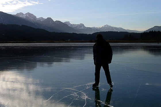 Outdoor ice skating in Austria